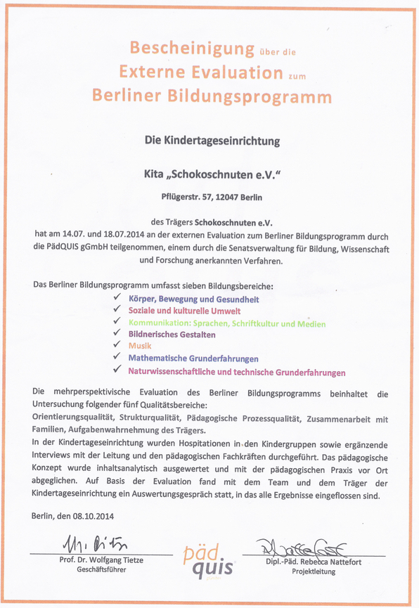 Evaluationsbescheinigung